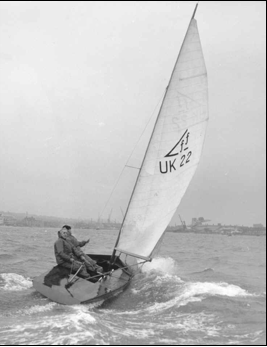 Uffa Fox Sailing an early Flying Fifteen